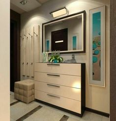 Corridor – a mirror, a stool and some beige cupboards. Kitchen Corner Cupboard, Mirror Cabinets, Corridor, Entryway Decor, Living Room Decor, Kitchen Design, House Design, Furniture, Home Decor