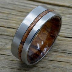 Titanium Ring With Koa Wood Inlay 8mm Comfort Fit Band With Wood Inside #RScott #Band