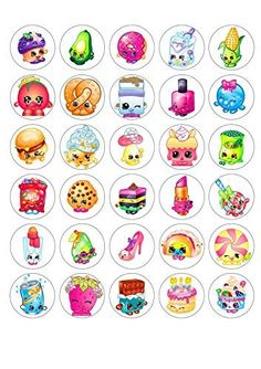 30 Shopkins Edible Paper Cupcake Cup Cake Topper Image Un. Fete Shopkins, Shopkins Bday, Shopkins List, Bottle Cap Jewelry, Bottle Cap Crafts, Bottle Caps, Shopkins Characters, Cupcake In A Cup, Bottle Cap Images