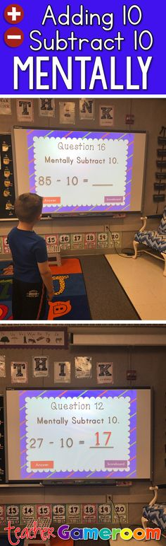Practice adding and subtracting 10 mentally with the interactive powerpoint game. Great for first grader students in small groups or as a class. CCSS aligned.