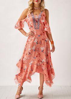 8115090de45f19 Pastel Orange Asymmetric Hem Cold Shoulder Printed Dress