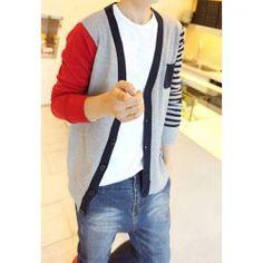 Fashion V-Neck Stripe Design Color Block Splicing Long Sleeves Cotton Blend Cardigan For Men