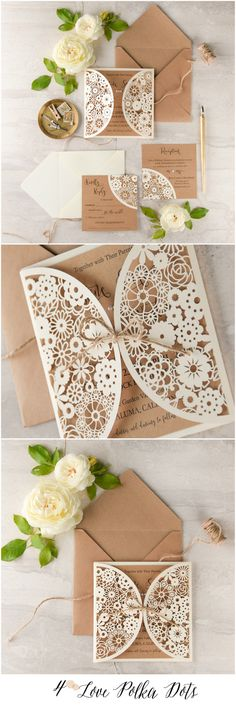 Eco brown & ecru laser cut lace wedding invitations with rustic touch.
