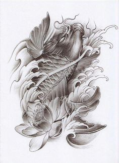 Koi Dragon Tattoo, Pez Koi Tattoo, Dragon Koi Fish, Carp Tattoo, Koi Tattoo Design, Chinese Tattoo Designs, Japanese Tattoo Art, Tattoo Drawings, Body Art Tattoos