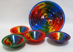Tie Dye Effect in Fused Glass  by artist - Karen Tarlow!