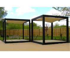 Charred FSC green oak garden cube with Hyper shade sail