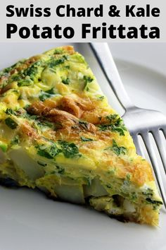 Swiss Chard & Kale Potato Frittata is an amazingly delicious, filling breakfast and a great way to eat more vegetables for breakfast! Swiss Chard Recipes, Kale Recipes, Easy Healthy Recipes, Vegetarian Recipes, Easy Meals, Recipe With Swiss Chard, Breakfast Recipes With Kale, Brunch Recipes, Protein Breakfast