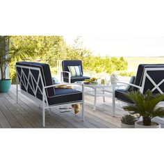 Allen roth one ocean park sling extruded aluminum single for Allen roth steel patio chaise lounge