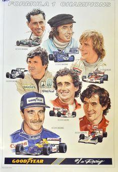 Aviso publicitario de  Goodyear con ilustraciones de varios campeones de F1