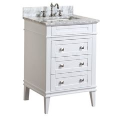 Eleanor 24-inch Bathroom Vanity (Carrara/White): Includes a White Cabinet, Soft Close Drawers, a Natural Italian Carrara Marble Countertop, and a Ceramic Sink - - Amazon.com