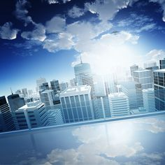 Fantacity Wall Mural: Architecture: Cityscapes: A city skyline surrounded by fluffy white clouds and an endless blue sky. Any wall mural image you choose can be printed on demand. Your specifications will be met for any interior design or home decor project. Create your own wallpapers, wall art and more by exploring our extensive image collection which includes cityscapes, buildings, landmarks and ceilings.