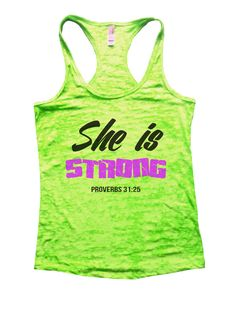 She Is Strong Proverbs 31:25 Burnout Tank Top By Funny Threadz - 859