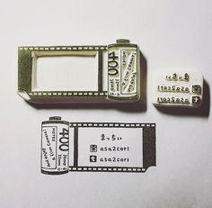 オーダー頂いたフイルムのはんこ プロフィール部分は別版に。 メッセージカードにも名刺にも使ってもらえるデザインにとオーダー頂きました