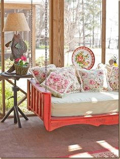porch swing bed would be lovely on the Sleeping Porch Outdoor Living Areas, Outdoor Rooms, Living Spaces, Living Room, Indoor Outdoor, Outdoor Kitchens, Sleeping Porch, Swinging Chair, My New Room