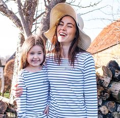 Mum and Me - Mum and Me Breton Top Set - Mum and Daughter - Mum and Daughter Matching - Breton Top S Mum And Daughter Matching, Childrens Mugs, Breton Top, New Mummy, Beautiful Lettering, Twin Outfits, New Baby Products, Pure Products, Navy And White