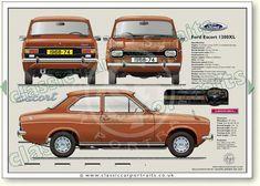 Ford Escort Mk1 2dr 1968-74 classic car portrait print #Fordclassiccars