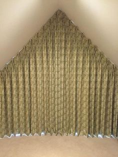 Apex window curtain, blackout and interlined - handmade by Victoria Clark Interiors. Curtains For Arched Windows, Dormer Windows, Curtains With Blinds, Blackout Curtains, Window Curtains, Window Coverings, Window Treatments, Triangle Window, Gable Window