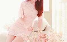 "rainingteadropss: "" Pink Lace Dress """