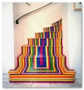 However, leaving the rolls, I present a Pop-Art staircase that has no waste.It was designed by Scotsman Jim Lambie and vinyl tape combines vibrant colors very carefully placed to achieve a striking. Jim Lambie, Painted Stairs, Painted Staircases, Painted Rug, Spiral Staircases, Painted Floors, Stairway To Heaven, Over The Rainbow, Stairways