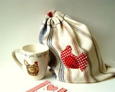 Reusable Bread Bag, Red Blue White stripes, Linen Keeper storage, washable, French style