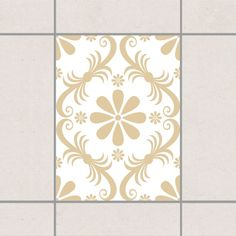 Fliesenaufkleber   Blumendesign White Light Brown 20x15 Cm   Fliesensticker Set  Braun