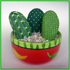 A salsa bowl is a festive container for these simply-painted cacti rocks. Don't they almost look real?