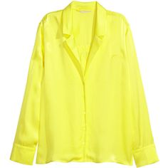 Satin Shirt $49.99 ($50) ❤ liked on Polyvore featuring tops, long length tops, satin top, yellow shirt, long tops and embroidered top