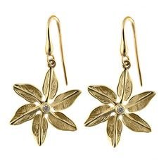 0.20 Inch Diameter 18k Yellow Gold Satin Finish Star Screwback Earrings
