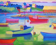 Whimsical Boats Boat Art Giclee Print by betsymclellanstudio 7th Grade Art, Art Mat, Boat Art, Maine, Nautical Art, Office Art, Whimsical Art, Elementary Art, Custom Art