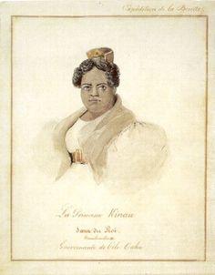 Princess Kīnaʻu of Hawaiʻi (c. 1805-1839), Kuhina Nui of Hawaiʻi (1832-1839) in her own right. She was a daughter of King Kamehameha I and his wife, Kalākua Kaheiheimālie. She was Queen of Hawaiʻi (1819-1824) as the wife of King Kamehameha II; the wife (c. 1824-1826) of Kahalaiʻa Luanuʻu; the wife (1827-1839) of Mataio Kekūanāoʻa. Her surviving children were King Kamehameha IV, King Kamehameha V, and Princess Kamāmalu.