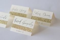 Glitter Place Cards With Custom Calligraphy For Wedding Event Party Or Shower