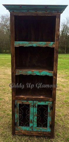 Handmade Rustic Bookshelf Hutch in Turquoise and Dark Stain
