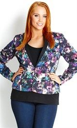 Add a fun jacket to a LBD, like this Garden Contrast Jacket from City Chic.