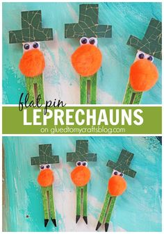 Flat Pin Leprechauns - Kid Craft Idea perfect for St Patty's Day!