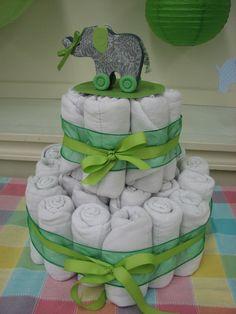 Diaper cake for elephant baby shower