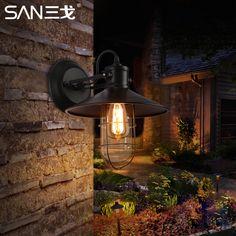 Stylish retro kitchen aisle wall lamp bedside industrial wind single headlights waterproof balcony wrought iron wall lamp m #Affiliate