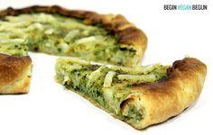quiché vegana ligera y sabrosa con brocoli y coliflor