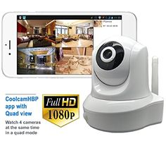 Coolcam HD 1080P Wireless WiFi IP Camera Smartphone CCTV Security Surveillance 2way Audio with Night Vision and Motion Detect Free P2P Cloud Connection Service with QR Code 2Pack