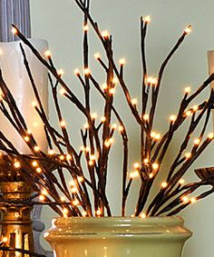 Battery operated willow branch with 60 warm white LED bulbs, 40 inch long, 2 stems. Natural looking warm white color LED's. Add a sparkle of light to your floral arrangements or plants with this lighted Willow branch. Lighted Branches, Willow Branches, Willow Tree, Enchanted Wedding Decor, Fairy Berries, Decoration Vitrine, Design Blogs, Do It Yourself Home, Christmas Lights