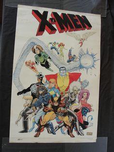 Vintage 1987 Arthur Adams Xmen Team Poster Marvel Comics Wolverine