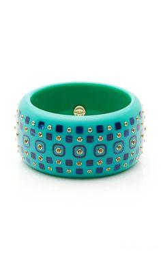 Handmade in Brooklyn, Mark Davis' 'Coroline-Chelsea' bangle is designed with turquoise vintage bakelite with inlaid navy blue bakelite, and citrine and peridot embellishments. Mark Davis, Turquoise Fashion, Coraline, Dog Bowls, Peridot, Turquoise Bracelet, Chelsea, Women Wear, Bangles