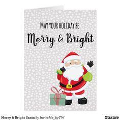 Merry & Bright Santa Card
