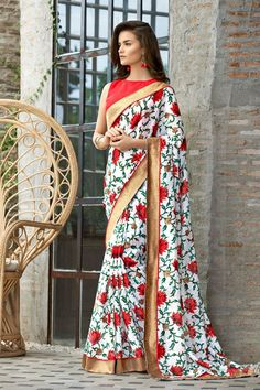 On a fun summer evening, opt for this multi-colored saree with Boat Neck…