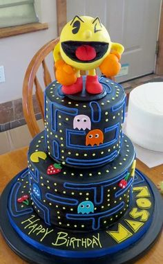 Pac Man cake   www.fancythatcake.com - Visit to grab an amazing super hero shirt now on sale!