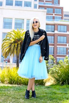 Windsor Store Tulle Tutu Skirt, Nifty Thrifty Vintage Band Tee, Windsor Store Moto Boots