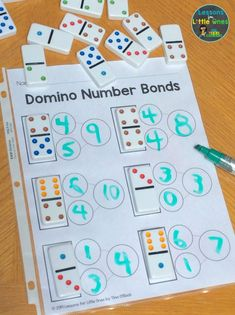 Here is a simple, fun way to practice number bonds in your math groups – use dominoes! Get the free printable page to use in your classroom #numberbondskindergarten #numberbondskindergartenfree #free #freebie