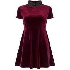 Miss Selfridge PETITE Burgundy Velvet Skater Dress (€21) ❤ liked on Polyvore featuring dresses, vestidos, short dresses, burgundy, petite, mini skater dress, short velvet dress, skater skirt, purple velvet dress and velvet mini dress
