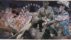 """""""Paramount"""". Dinh Q. Le weaves images from American films about the Vietnam War, including Apocalypse Now, Indochine, and Heaven and Earth, using a traditional grass mat weaving technique learned from his aunt before he and his family fled Vietnam for the United States. Much of Le's work is about identity and memory of his Vietnamese culture and his American upbringing..."""
