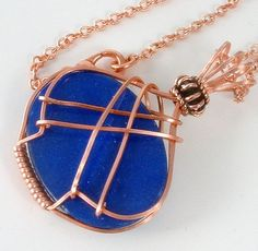 Wire Wrapped Lapis Blue Mountain Jade Cabochon Copper Pendant-back