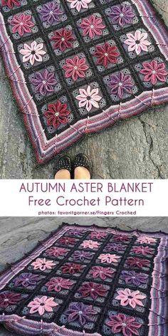 Autumn Aster Blanket Free Crochet Pattern Beautiful blanket with a flower motif, winter blanket Crochet afghan Crochet Afgans, Knit Or Crochet, Crochet Motif, Crochet Crafts, Crochet Projects, Blanket Crochet, Autumn Crochet, Crochet Bags, Crochet Animals
